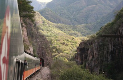 Train passing through Copper Canyon in Mexico