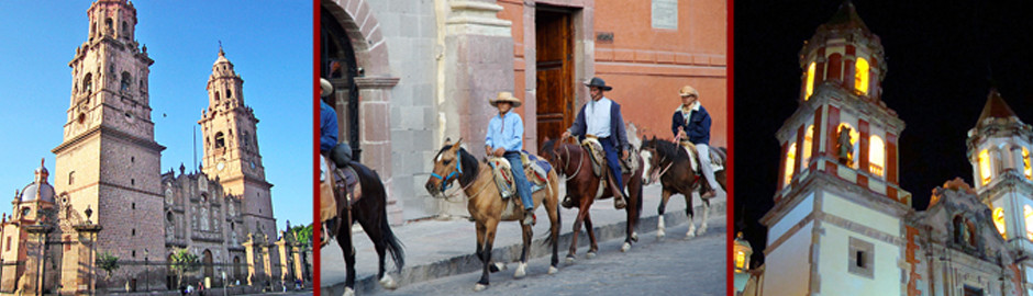 Two Colonial buildings in Mexico and people riding horses