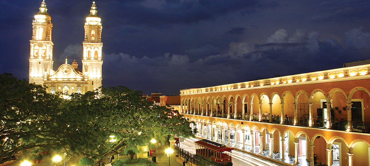 downtown campeche at night