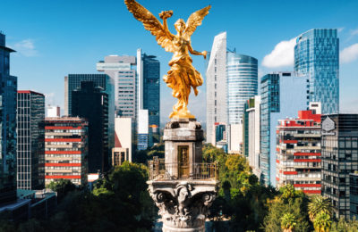 This sculpture of the Angel of Independence resides on Reforma Boulevard in the heart Mexico City.