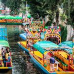 A Canal full of trajinera's (gondolas)